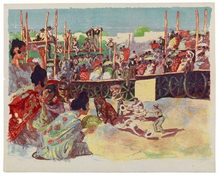 リトグラフ Lunois - La Corrida:  Une corrida à la campagne (A Country Bullfight)