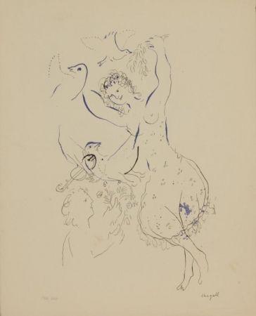 リトグラフ Chagall - La danseuse aux oiseaux