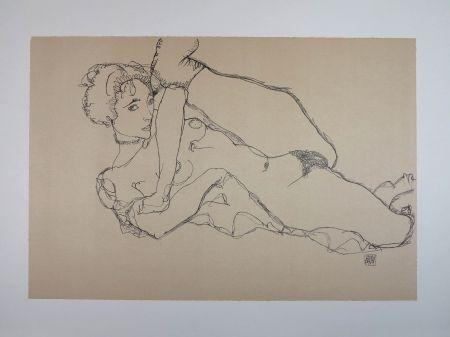 リトグラフ Schiele - LA DANSEUSE NUE / THE NUDE DANCER - 1914