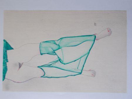 リトグラフ Schiele - La fille au bas vert