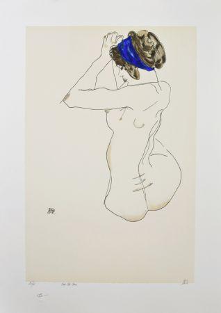 リトグラフ Schiele - La fille au turban bleu, 1912 / The girl with blue headband, 1912