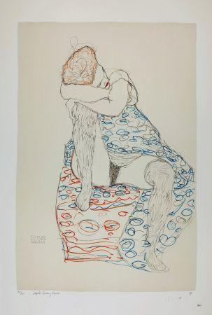 リトグラフ Klimt - La  fille aux bas de soie assise sur le tabouret, 1910 / Sitzende mit gerafftem Rock / Seated Female Semi-Nude in Patterned Dress, Her Head Resting on Her Right Knee