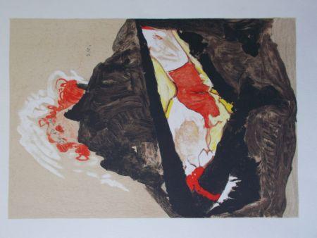 リトグラフ Schiele - La fille aux cheveux rouge
