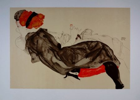 リトグラフ Schiele - La fille aux Cheveux Rouges / Red-haired Girl - 1912