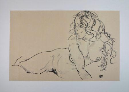 リトグラフ Schiele - LA FILLE AUX LONG CHEVEUX / THE GIRL WITH LONG HAIR - 1918