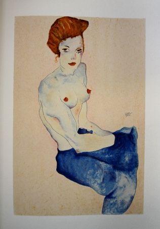 リトグラフ Schiele - LA FILLE EN ROBE BLEUE / THE GIRL IN THE BLUE DRESS - Lithographie / Lithograph - 1911