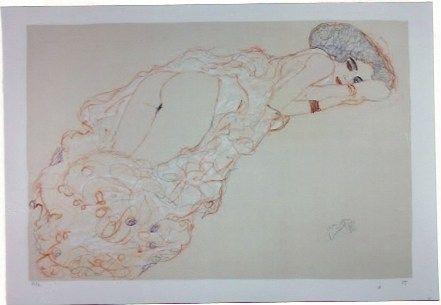リトグラフ Klimt - La fille en robe longue