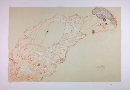 リトグラフ Klimt - La fille en robe longue / Reclining Nude Lying on Her Stomach and Facing Right / Auf dem Bauch liegender Halbakt nach rechts - 1910