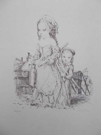 リトグラフ Foujita - La fille et l'enfant à la baguette de pain et au pot de lait