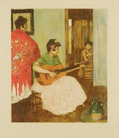 リトグラフ Lunois - La guitariste / La guitarera