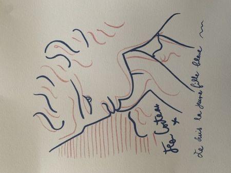 リトグラフ Cocteau - La jeune fille bleue