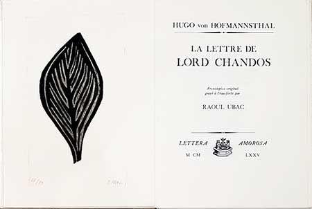 挿絵入り本 Ubac - La lettre de Lord Chandos