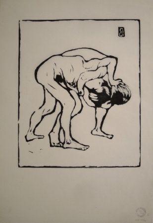 木版 Giacometti - La Lotta I. – Ringende Knaben. – Diego und Alberto