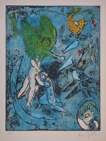 リトグラフ Chagall - La Lutte De Jacob Et De L'ange