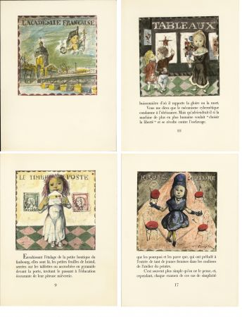 挿絵入り本 Foujita - LA MÉSANGÈRE (Jean Cocteau) 21 lithographies. 1963. Ex. de luxe avec soie signée et suite couleurs