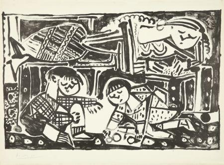 リトグラフ Picasso - La mère et les enfants