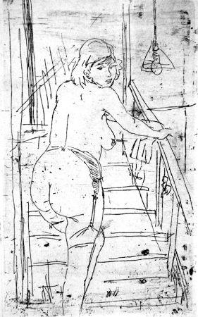 エッチング Manfredi - La modella bionda sulla scale