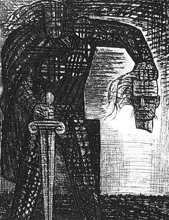 エッチング Gromaire - La mort de Macbeth