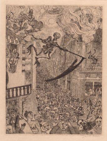 彫版 Ensor - La mort poursuivant le troupeau des humains