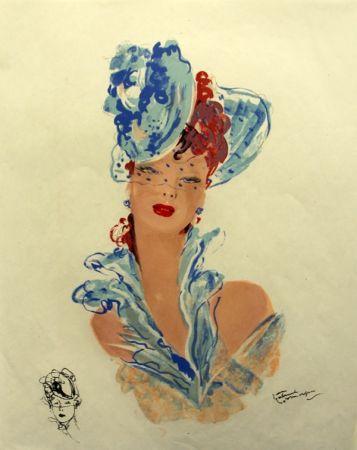 リトグラフ Domergue - La  Parisienne Femme au Chapeau Bleu