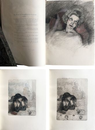 挿絵入り本 Chimot - LA PETITE JEANNE PÂLE, suivi de la Petite Sirène du Pont des Arts (1922). 1 des 5 Japon avec dessin original et suites.