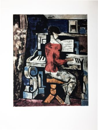 エッチングと アクチアント Gromaire - La pianiste