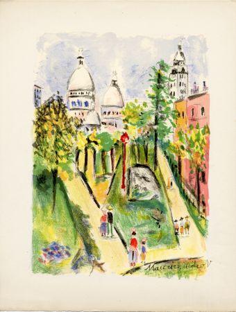 リトグラフ Utrillo - LA PLACE SAINT-PIERRE (le Sacré-Cœur). Épreuve pour Maurice Utrillo (1955)