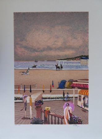 リトグラフ Dilley - La plage de Deauville