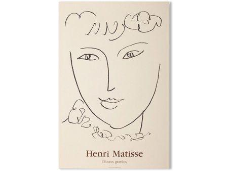 リトグラフ Matisse - LA POMPADOUR. Affiche en lithographie pour l'exposition de 1951.
