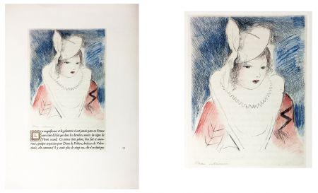 エッチング Laurencin - LA PRINCESSE DE CLÈVES (Pl. II signée au crayon). 1947