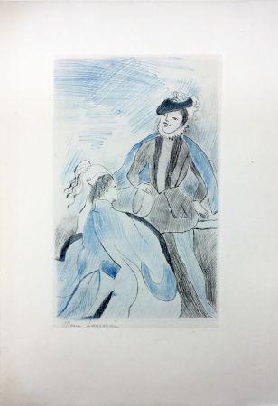 エッチング Laurencin - LA PRINCESSE DE CLÈVES (Pl. VIII signée au crayon). 1947