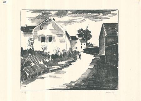 リトグラフ Vlaminck - La route de Nesles
