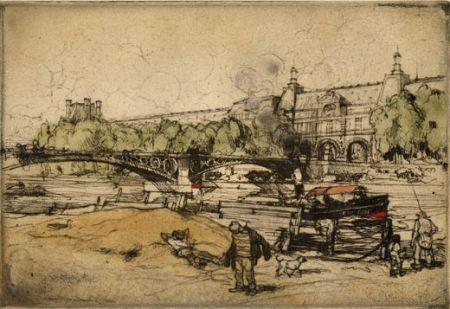 エッチングと アクチアント Coussens - La Seine au Pont du Carrousel