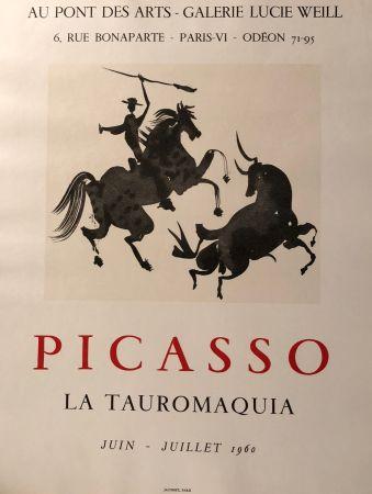 掲示 Picasso - La Tauromaquia - Au Pont Des Arts - Galerie Lucie Weil, Paris Juin - Juillet 1960