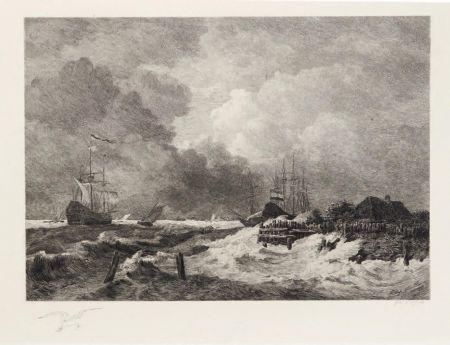 彫版 Huet - La tempête (The Storm) [with] Brisants, Granville (Breakers, Granville)