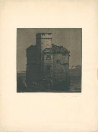エッチングと アクチアント Gattiker - La Torre di Rapallo (Torre Pagana)