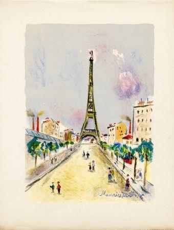 リトグラフ Utrillo - LA TOUR EIFFEL. Épreuve pour Maurice Utrillo (Paris, 1955)
