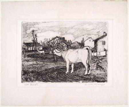 彫版 Bozzetti - LA VACCA CHE MUGGE (The mooing cow), second version