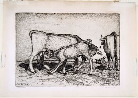 彫版 Bozzetti - LA VACCA E IL BOCCINO (The cow and the calf), fourth version.