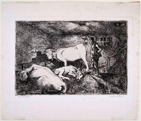 彫版 Bozzetti - LA VISITA NOTTURNA (Visiting the stable in the night)