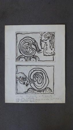 彫版 Alechinsky - Labyrhinte Et Reine ,crapaud Et Labyrinthe