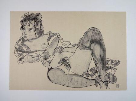 リトグラフ Schiele - L'AGUICHEUSE / THE SEDUCTIVE GIRL - 1918