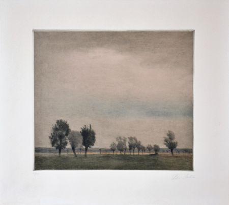 メゾチント彫法 Ilsted - Landscape In Falster
