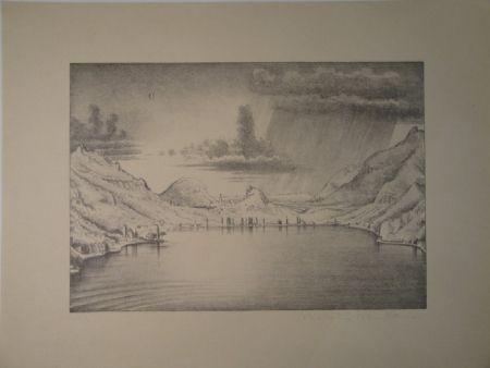 リトグラフ Stöcklin - Landschaft bei Morcote.