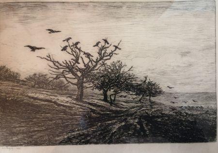 エッチング Daubigny - L'arbre aux corbeaux