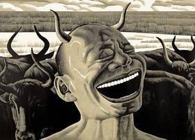 木版 Minjun - Laughing w/Horns