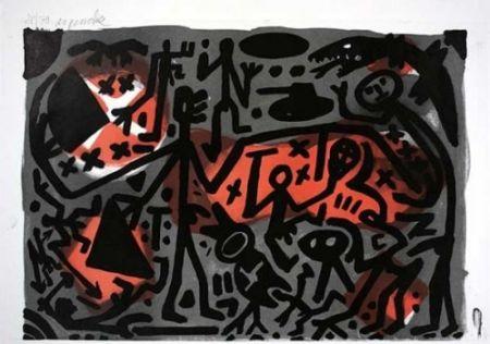 リトグラフ Penck - Lausanne 3 Kämpfer
