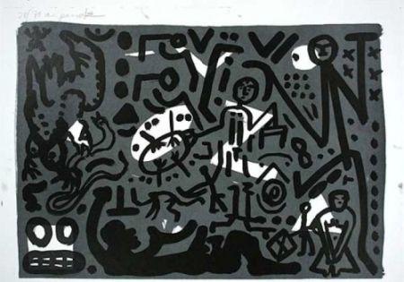 リトグラフ Penck - Lausanne 4 Hände auf den Tisch