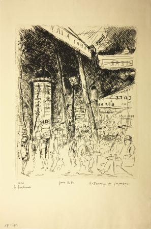 エッチング De Segonzac - LE BOULEVARD MONTPARNASSE. Pour Bubu, 1929.
