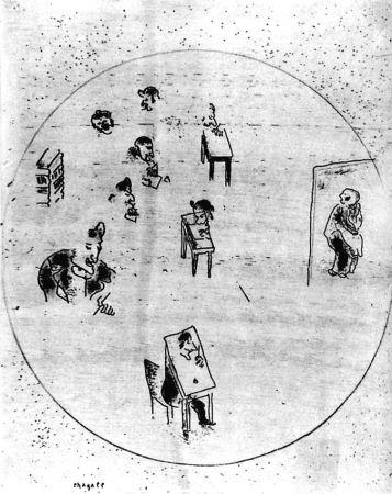 エッチング Chagall - Le Bureau Des Contrats